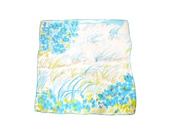 Vera Echarpe en Blue / écharpe Fleur Floral / Lady Bug écharpe / Vintage Accessoires écharpe / foulard bleu Turquoise / Vintage bleu écharpe / foulard en soie