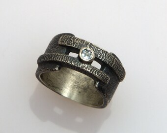 Layered Bar Ring with Sky Blue Topaz