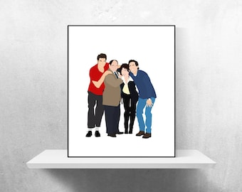 Seinfeld Cast Minimalist Poster | Jerry Seinfeld Poster Seinfeld TV Show Cosmo Kramer George Costanza Elaine Benes TV Poster Seinfeld TV