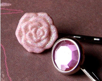 Baby Pink Rose and Brilliant Pink Gem Bobby Pin Pair - Pretty in Pink