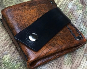 Men's Brown Leather Money Clip Snap Wallet - Hand Stitched - Old World - MADE to ORDER