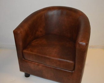 Tub Chair Upholstered in a Premium Chestnut Faux Leather