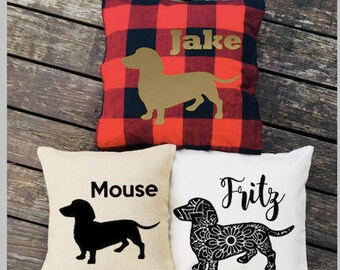 Dachshund Pillow - Personalized Doxie Silhouette Pillow - Dog Pillow Cover - Burlap Pillow - Buffalo Plaid Pillow - Dog Decor