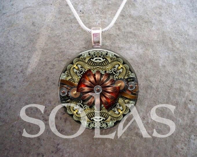 Steampunk Necklace - Glass Pendant Jewelry - Steampunk 1-2