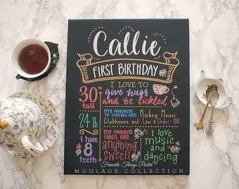 """11""""x14"""" canvas, first birthday chalkboard style custom ink drawing, the original Favorite Things Poster™"""