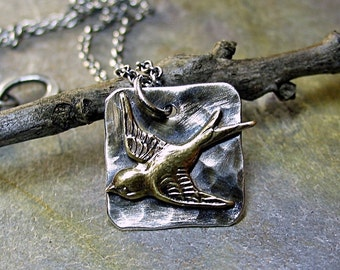 Bird Pendant Necklace Sterling Silver Hammered - Soaring Free