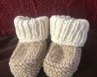 Knit 100% cotton baby booties 6-9m