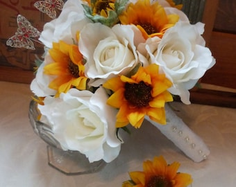 Sunflower bridal bouquet sunflower roses wedding bouquet silk bridal bouquet set