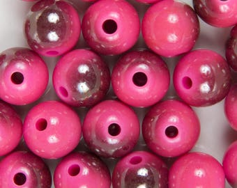 10 pearls acrylic 10mm pink UV plating