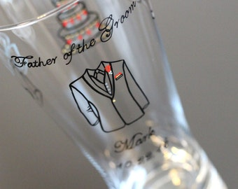 Father of the Groom Pilsner Lager Beer Glasses Pint Toasting Custom Personalized Painted Ice Blue Cranberry Red Gold Black Tuxedo Handmade