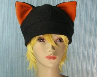 Fleece Cat Hat / BLACK + ORANGE Inner Ears Beanie Style Cap Cute Anime Neko Cosplay Kitty Cat Ears Kawaii Fashion