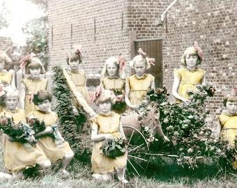 Little Girls Fairy Princess Flowers Beauties in Yard