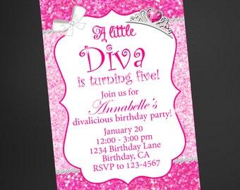 Little Diva Pink Glitter Birthday Invitation, Little Diva Printable Birthday Invitation, Little Diva Invitation, Printable Invitation