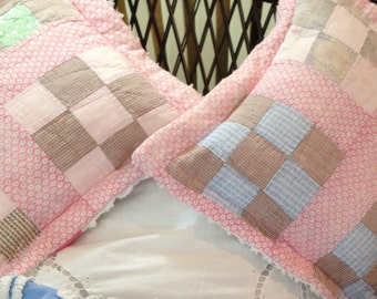 Vintage Chenille quilted Pillow covers repurposed vintage pink white satin