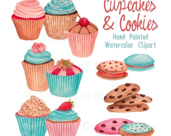 cupcake watercolor clipart, cookies graphic set, blue cupcakes, cakes and treats clip art handpainted graphics by SLS Lines