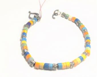 Yellow, Blues and Green Heishi Beaded Bracelet