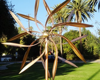High Quality Artistic Windmill Large Pure Copper Wind Sculptures Dual Spinners
