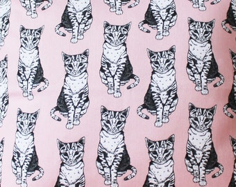 Pink Cat Fabric - fabric by the metre - upholstery fabric - curtain fabric - Cat - fabric by the yard - Pink - nursery decor - cute fabric