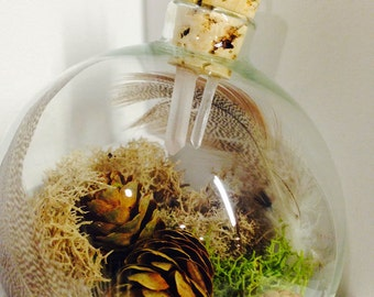 Small Rustic Hanging Glass Terrarium Ornament with Quartz Crystal Accents