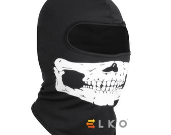 Black Skull Balaclava Mask Under Helmet Winter Warm Army Style Neck Warmer