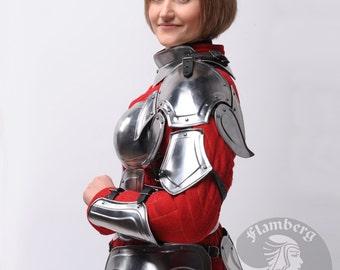 """Larp, Female Armor ,Fantasy, Elf, Elven Costume """"Flamberg"""" steel  armor for women: pauldrons, shoulders"""