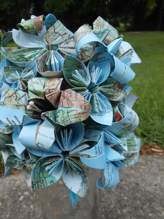 Vintage Map Bridal Bouquet. YOU CHOOSE The MAPS. Made To Order. Boutonniere Included. Whole Wedding Parties Available.