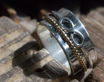 Spinner ring, eternity ring, Infinity Ring, silver spinners ring, silver gold band, Wide boho ring, hippie ring - Rebellious spirit R2129