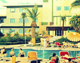 Mid Century Modern Art Hotel Print Hotel Flamingo photograph vintage Las Vegas art mcm Swimming Pool Art  Retro Hotel Art Hotel Decor Art