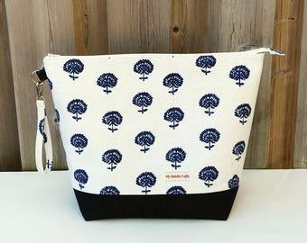 Dandelion Print and Denim Knitting Bag, Zipper Knitting Bag, Project Bag, Sweater size Knitting Bag, Wedge Knitting Tote