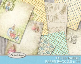 Peter Rabbit Paper Pack junk journal pages printable 8.5 x 11 inch paper crafting scrapbooking instant download digital sheet - VDPABP1745