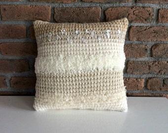 Hand Knitted Throw Pillow Cover striped pillow case stripe throw pillow white cream nude crochet pillow decorative boho pillow linen knit