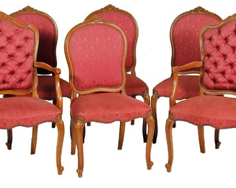 19501 Set of 6 French Victorian Style Dining Chairs - Twin Arms!