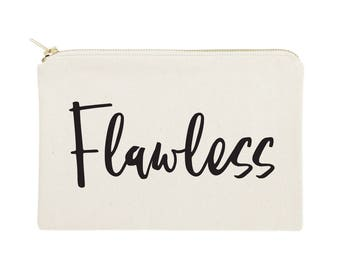 Flawless Cotton Canvas Cosmetic Bag, Toiletry Bag and Travel Makeup Pouch - Bridesmaid Gift, Wedding, Gifts for Her, Christmas, Valentine's