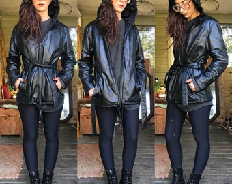 Vintage Leather Jacket with Hood and Belt size S M pockets