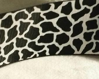 Black white giraffe animal print grosgrain ribbon  1 yard