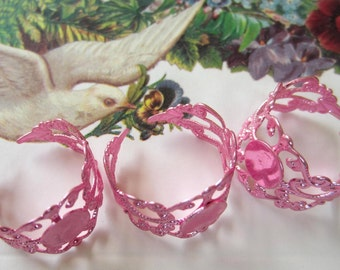 5 Ring blank  adjustable pink filigree jewelry supplies PRB