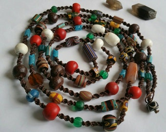 Modern Tribal Ultra long Multi strand eclectic antique tradebead hand woven necklace
