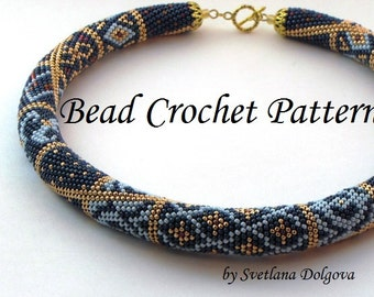 """Pattern for bead crochet necklace """"Marrakesh"""",Crochet Necklace Pattern,seed bead necklace patterns,bead necklace,"""