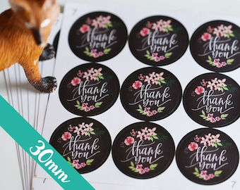 30mm Chalkboard Thank You stickers, Water Resistant Matte Lamination, Watercolor Flower, Round Cut Sticker  Etsy Sellers, Wedding, Party