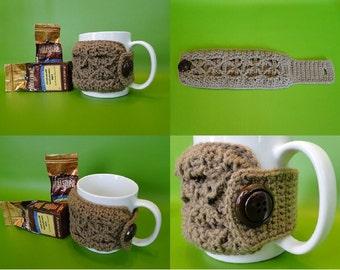 Crochet Pattern - Coffee Mug Cozy Crochet Pattern #311 - Smocked Crochet - Instant Download PDF
