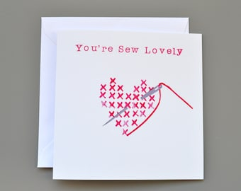 Cross stitch style You're Sew Lovely card