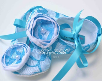 Turquoise Lace on White Vintage Baby Shoes Ballerina Slippers