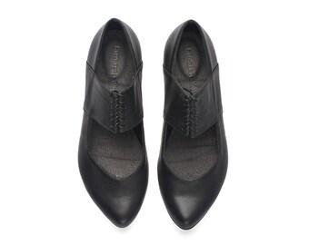 Black ballerina shoes, Vicky, Black leather flats