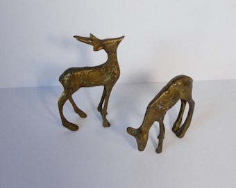 Brass Deer Figurines. Set of 2