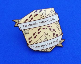 I Solemnly Swear That I Am Up To No Good Enamel Pin Badge - Lapel Pin, Tie Pin - Harry Potter - Marauders Map