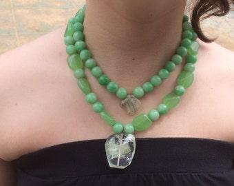 Jade and crystal quartz