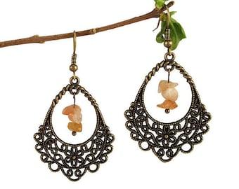 Bohemian bronze jewelry, sunstone dangle earrings, spiral wire earrings, boho bohemian earrings, bronze lace earrings, sunstone jewelry fael