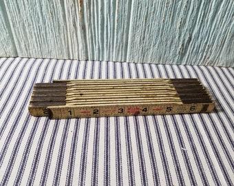 Vintage Folding Ruler, Carpenter Tool, Antique Folding Ruler, Vintage Ruler, Folding Ruler, Antique Ruler, Man Cave Decor, Vintage Tool