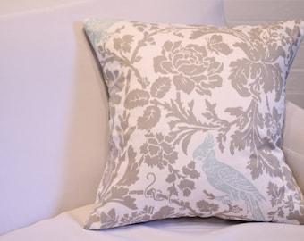 """17x17"""" Tan and Blue Botanical Bird Pillow Cover"""