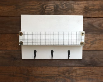 Farmhouse Key Holder, Mail Slot / Chicken Wire Shelf, Key Rack / Wall Mount Hooks with Shelf / Entry Organizer / Wall Mail Holder, Key Hooks